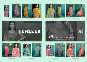 1242 ALOK SUIT BY TEHZEEB EMBROIDERY COLLECTION 409001 TO 409008 SERIES