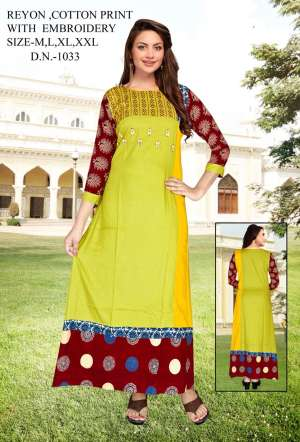 683 ALL Time Hit  Rayon With Cotton Print With Hand work Kurti Fabrice Collection